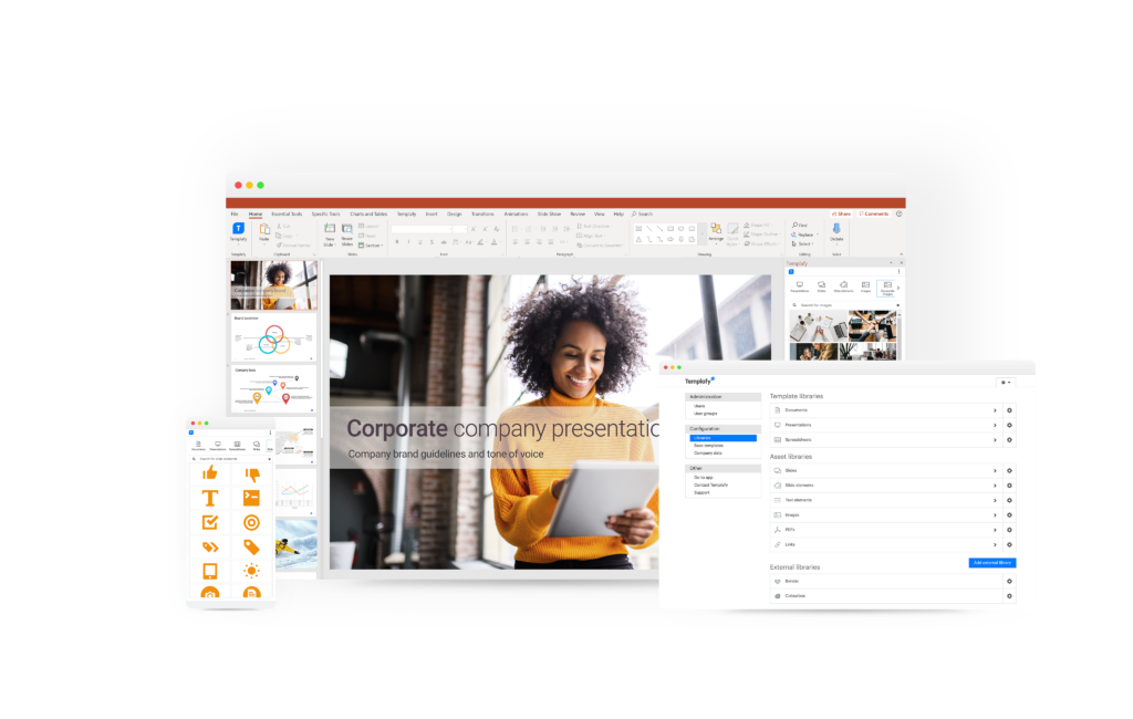 access to corporate powerpoint tempaltes on all devices